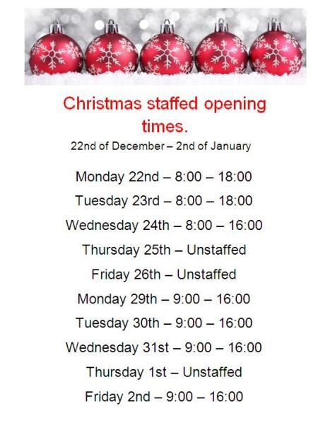 Christmas Staffed Opening Times