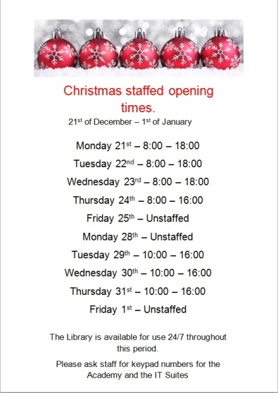 Christmas Staffed Opening Times 2015
